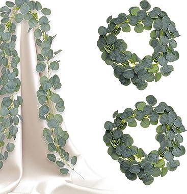 SPTwj Lot de 2 guirlandes d'eucalyptus artificielles en soie d'eucalyptus Fausse guirlande de feuilles de verdure Fau