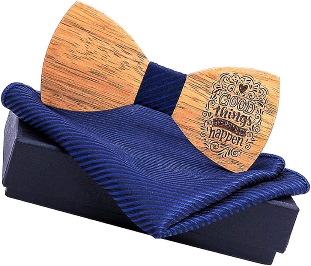 dailymall Wooden Bow Tie Wood Bowtie Handkerchief Set W/Box For Mens Party Neckwear