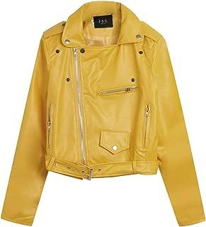 Women's Leather Moto Jacket Zip Up Studed Jacket Lapel Cool Biker Motorcycle Jacket Short Bomber Jacket Coat
