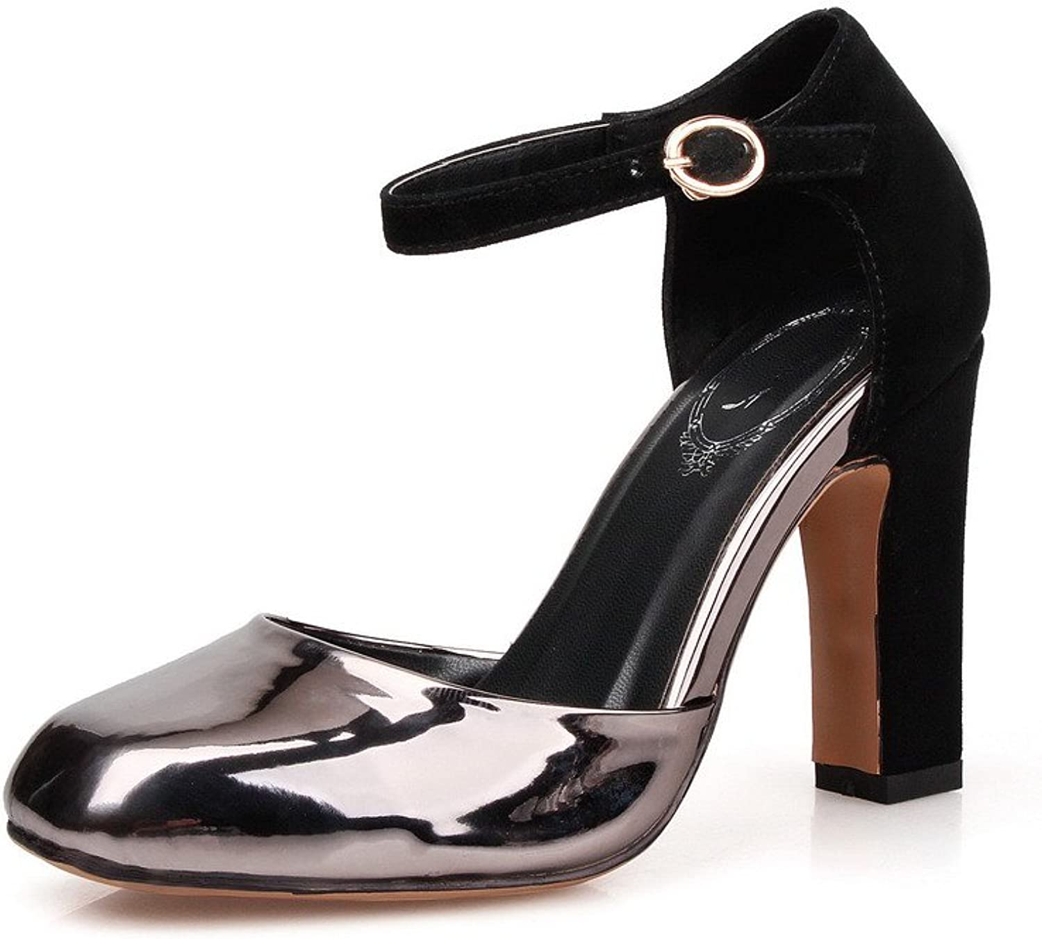 AmoonyFashion Women's Patent Leather Buckle Square Closed Toe High Heels Solid Pumps shoes