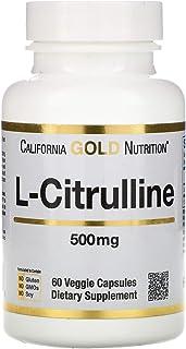 California Gold Nutrition, L-Citrulline, Kyowa Hakko, Japanese Sourced, Amino Acid, 500 mg, 60 Veggie Capsules, Milk-Free,...