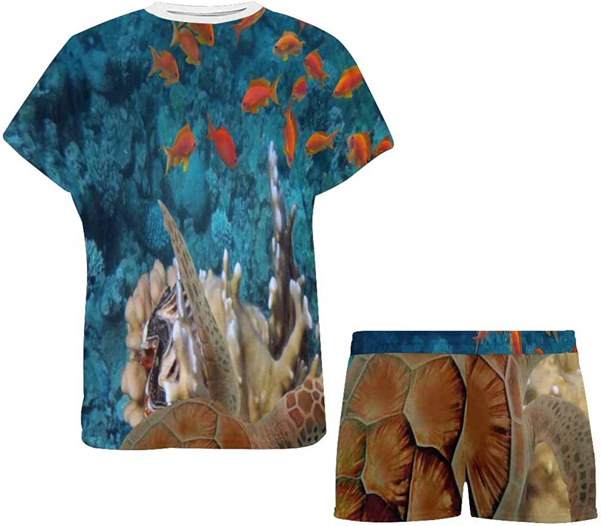 INTERESTPRINT Coral Reef with Fishes, Turtle Women Sleepwear Short Sleeves Pajama Sets