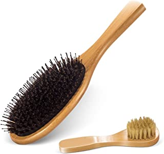 Paddle Brush with Boar Bristles Set of 2 Professional Soft Hair Brush with Wooden Handle for Wavy Curly Thick Hair, Men, Women and Children