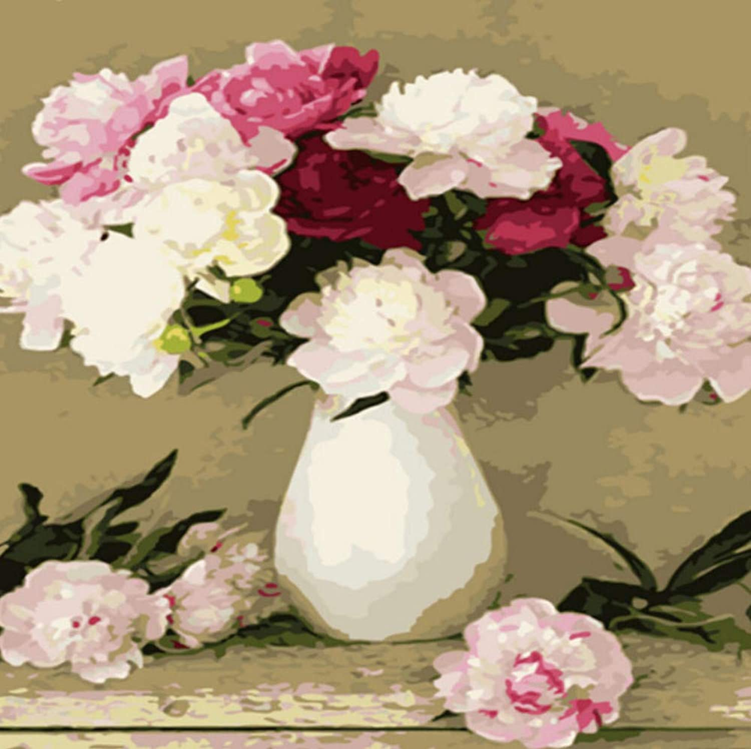 Blooming Vase 50x60cm Decor Home Coloring Canvas Painted Hand Diy