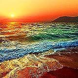 5d pintura de diamantes novedades paisaje puesta de sol bordado de diamantes junto al mar mosaico de diamantes de imitación telón de fondo A4 45x60 cm