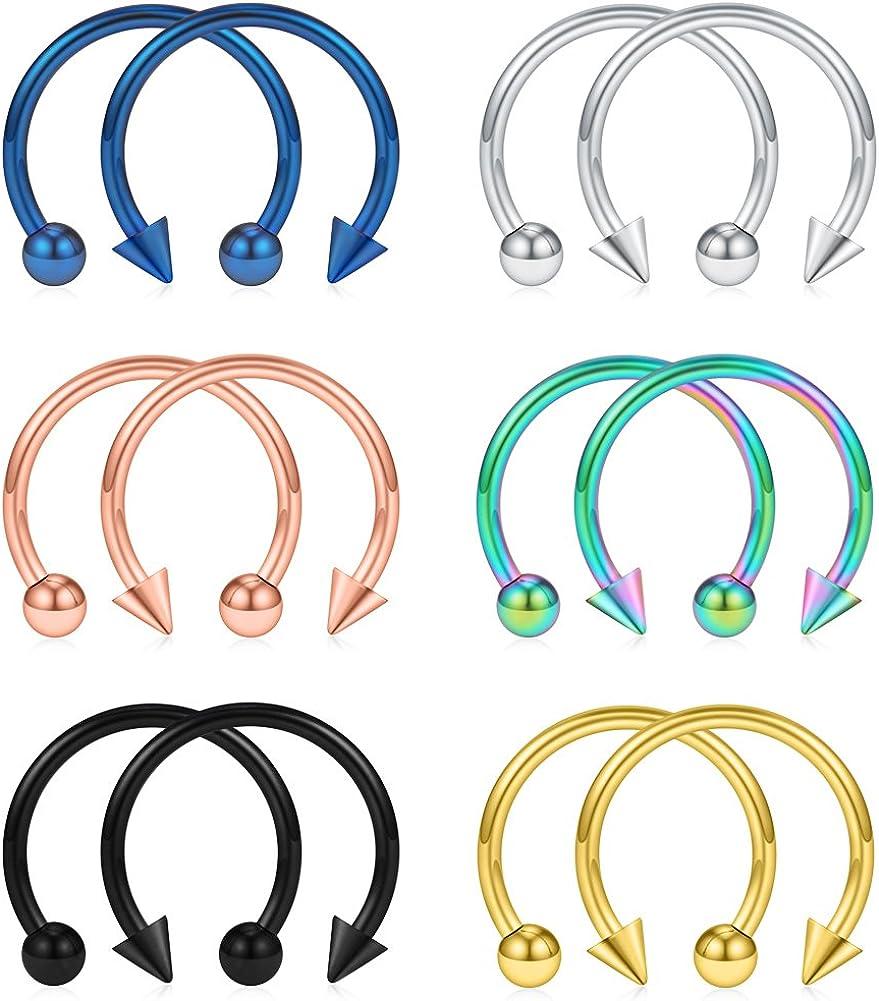 SCERRING 12PCS 316L Stainless Steel 16G Circular Barbells Eyebrow Lip Ear Tragus Horseshoe Hoop Rings 6-12mm
