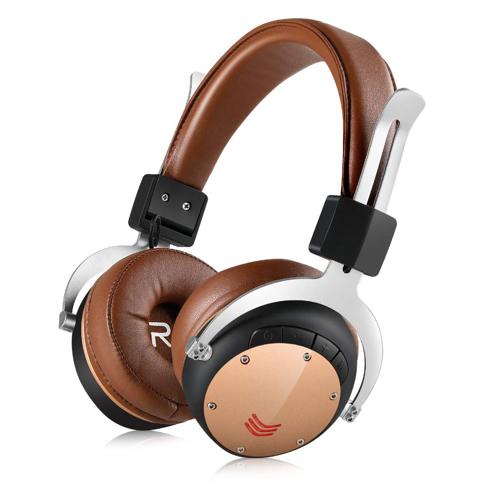Fekgoo Bluetooth Headphones Over Ear-Wireless Hi-Fi Stereo Headset with Mic 40mm Driver Foldable Headphones Support TF Card for Travel Sports Music Cell Phones PC (Brown)