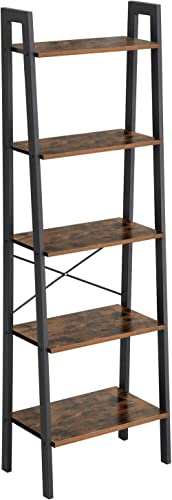 VASAGLE Industrial Ladder Shelf, 5-Tier Bookshelf, Bookcase and Storage Rack, Wood Look Accent Furniture with Metal F...