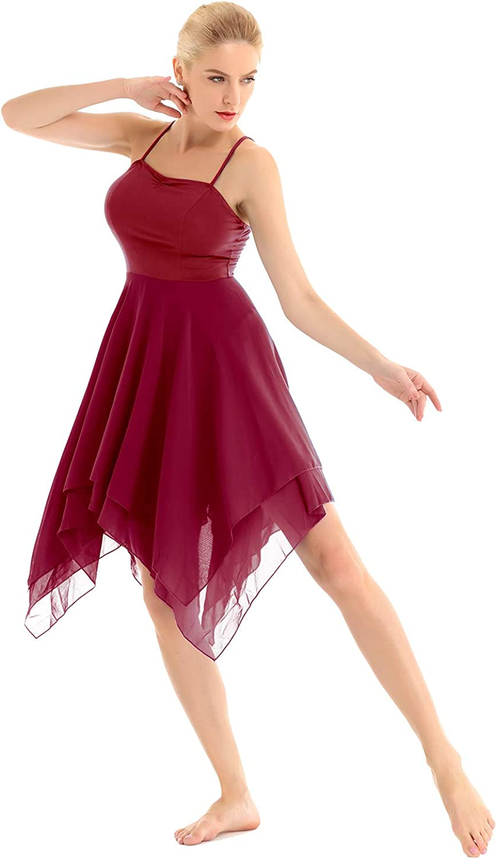 dPois Vestido de Ballet Danza Baile para Mujer Chica Maillot con Falda sin Mangas Vestido Asim/étrico Cintura Alta Traje de Baile Moderno Fiesta Actuacion C/óctel Jazz Show Verano