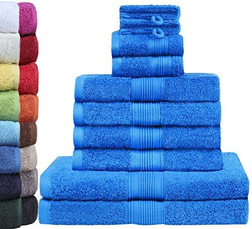 GREEN MARK Textilien 10 TLG. FROTTIER Handtuch-Set mit verschiedenen Größen 4X Handtücher, 2X Duschtücher, 2X Gästetücher, 2X Waschhandschuhe | Farbe: Royal blau | Premium Qualität