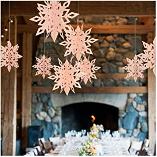ESG Warehouse 6 Pcs Christmas Snowflake Pink Party Decorations 3D White Hanging Garland Hanging (Dark Blue)