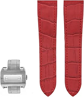 24.5MM LEATHER STRAP BAND FOR CARTIER SANTOS 100 CHRONO XL RED Ref 2740 + CLASP