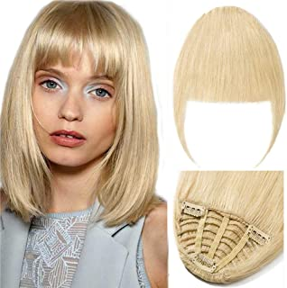 New Fashion Clip in Bangs One Piece Fringe 100% Natural Remy Human Hair Extensions Hairpiece Neat Fringe Hand Tied Thick Straight Bangs with Temple Hair Piece Accessories for Girls (Blonde)