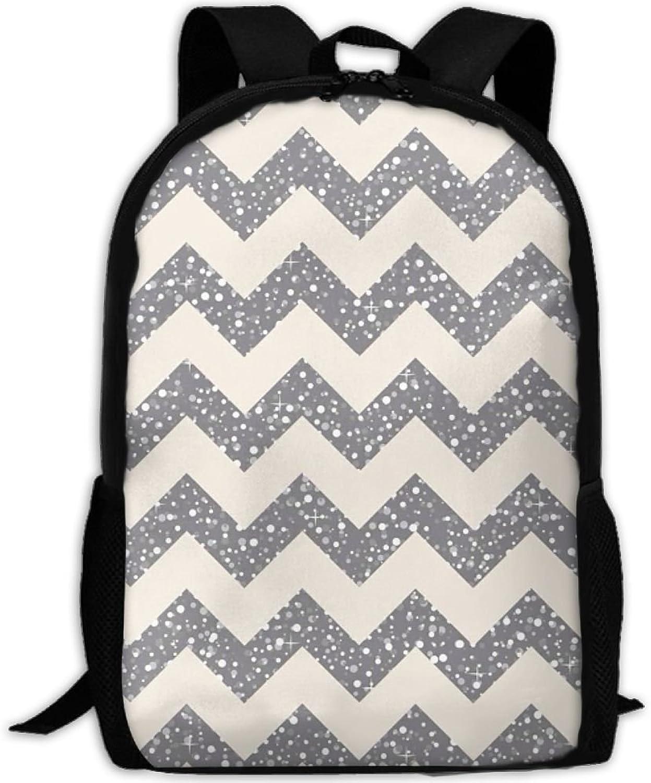 Backpack Laptop Travel Hiking School Bags Light Wavy Lines Daypack Shoulder Bag