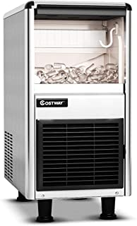 COSTWAY Commercial Ice Machine, 110LB/24h Stainless Steel Machine, 33LBS Storage Capacity, W/LCD Display, Free-Standing Ice Maker Design, High efficient Compressor, for Restaurant, Bar