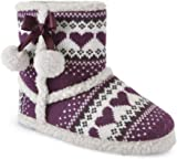 SlumberzzZ Womens Love Heart Knitted Ankle Boot Slippers
