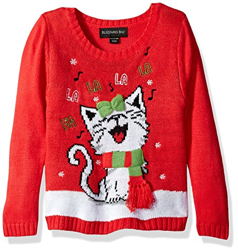 Blizzard Bay Big Girls' Happy Kitty Christmas Sweater, Red/White