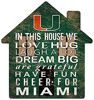 Fan Creations NCAA Miami Hurricanes Unisex University of Miami House Sign Team Color 12 inch