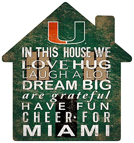 Fan Creations NCAA Miami Hurricanes Unisex University of Miami House Sign, Team Color, 12 inch