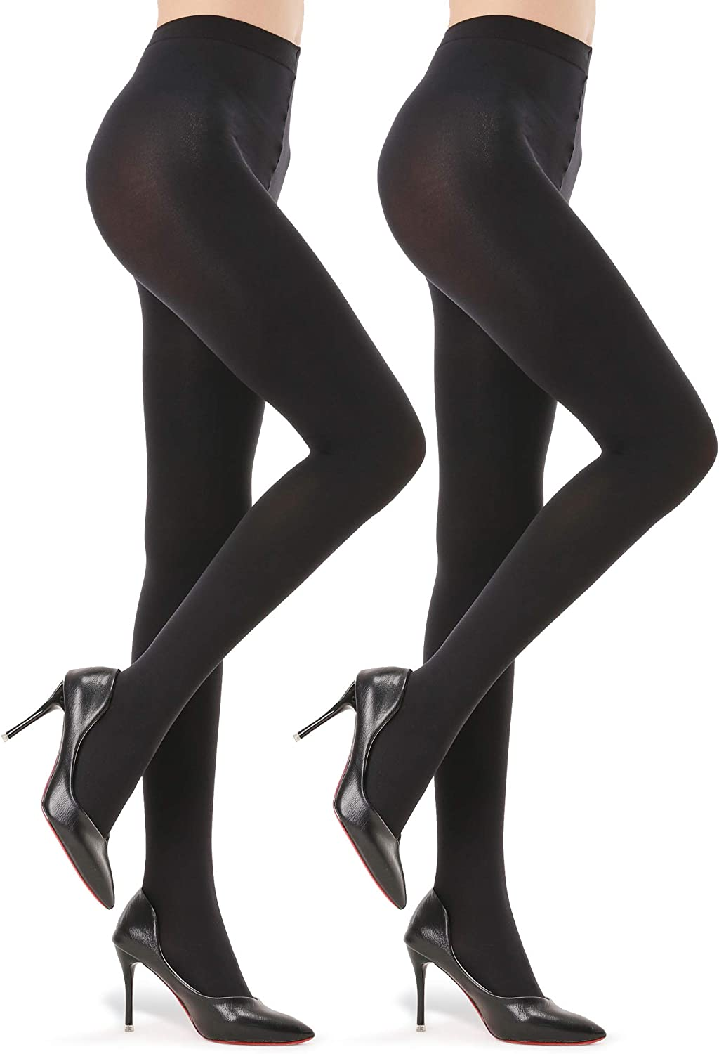 2 Pairs Opaque Tights for Women - 40D/70D Microfiber Control Top Pantyhose