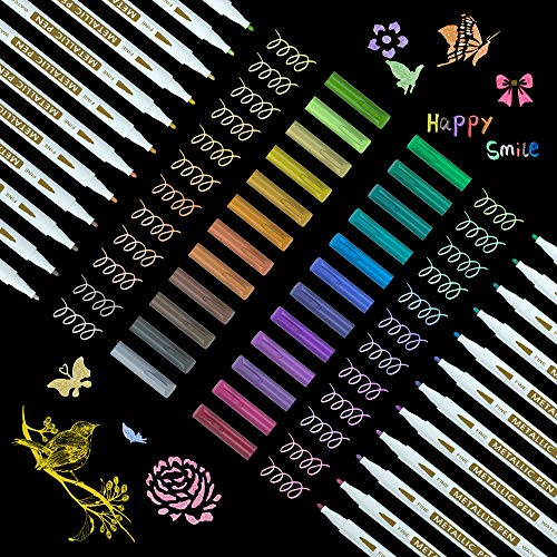 Metallic Marker Pens, Shuttle Art 24 Colors Metallic Paint Markers Fine Point for DIY Card, Calligraphy, Art and Crafting Projects, Works Great on Black Paper, Scrapbooks, Fabric, Rock.