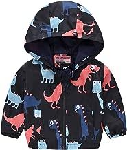 Mousmile Infant Toddler Girl&Boys Puffer Jacket Hoodie Cartoon Dinosaur Print Lightweight Coat Outerwear Kids Clothes