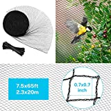 Sunkorto 7.5x65 FT Bird Netting, Reusable Garden Net Protects Plants and Fruit Trees, Pond Net Garden Protection Against Bird Dear Animal, 0.7-inch Square Mesh
