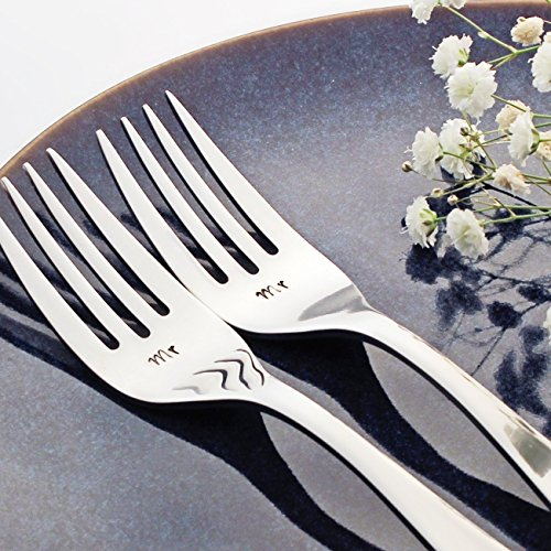 Mr / Mr - Stainless Steel Stamped Fork Set, Stamped Same Sex Wedding Silverware for Wedding Cake
