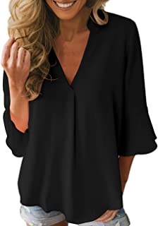 Dean Fast Women Casual Chiffon Flare Sleeve V Neck Plus Size Blouses Shirts Loose Flowy Tops S-XXL