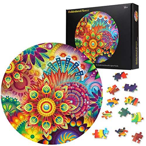 Herefun 1000 Teile Runde Puzzle, Blume Runde Puzzle Kreative, Blume Runde Puzzle Klassische für Kinder, Runde Puzzle Spiel Geschenk (Blume)