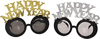 Amosfun Happy New Year Eyeglasses 2 Pcs New Year Eve Sunglasses Photo Booth Props Eyeglasses Celebration Party Favor for 2020 New Year's Eve Party Decors