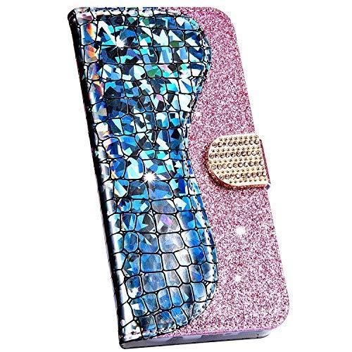 Ysimee Compatible avec Samsung Galaxy A20e Coque Paillette Brillante Bling en Cuir Epissure Etui avec [Fentes pour Cartes][Magnétique][Fonction Support]Housse Couverture à Rabat Wallet Case,Argent