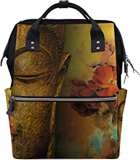 Diaper Bags Backpacks Mummy Backpack with Buddha Statue and Penoy Flower Travel Laptop Daypack