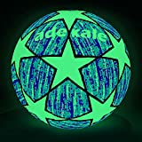 adekale Soccer Balls, Glow in The Dark Soccers,Battery-Free Light Up Soccers,Fluorescent Bright After Sun Shine,Official Size& Weight (Size 5) with Pump for Man Teen Boy