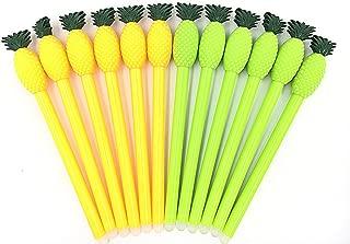 12pcs Gel Pen Black Ink Roller Marker Pen(Double-color Pineapple Styling)