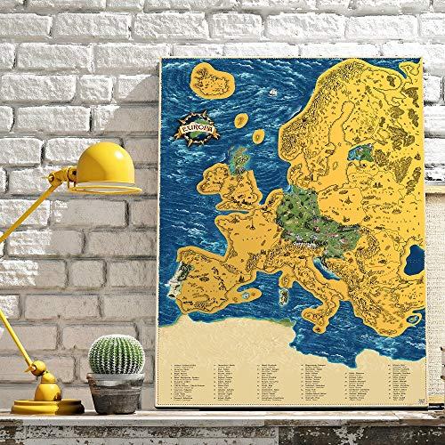 Giftio kras Europa kaart Deluxe XL natuur - handgeschilderd met monumenten - 90x66cm