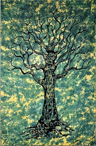 UrbanCharm – Klassischer Baum des Lebens, indischer Wandteppich, indischer Hippie-Wandbehang, Trennwand, Picknickdecke, Stranddecke, Tischdecke