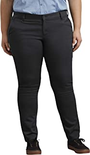 Dickies Women's Plus Size Mid-Rise, Skinny Stretch Twill Pant