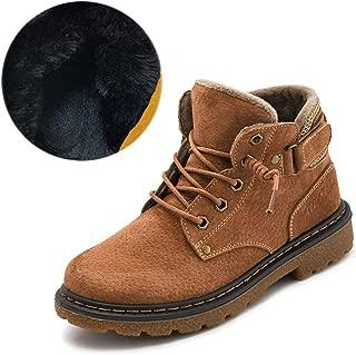 FX British Martin Boots, Winter Cotton Boy Shoes, Kids Snow Cotton Short Boots (Color : Brown b, Size : 35eu)