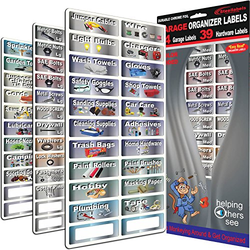 """Garage Organizer Labeling Set- 3 Large Sheets with - 83 Chrome Foil Decals for organizing all your garage items & hardware """"Easy Read"""" large peel and stick colored organizer labels"""