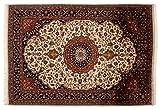 Lifetex.eu Teppich Keshan ca. 120 x 175 cm Beige handgeknüpft Schurwolle Klassisch hochwertiger Teppich