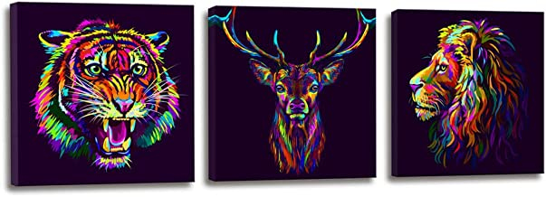 Abstract Canvas Prints Wall Art for Bedroom Decor Multi-Colored Portrait of a Deer and Lion's Head with a Snarling Neon Tiger Canvas Art - 3 Panels Framed Art Canvas Pictures for Home Bathroom Decor