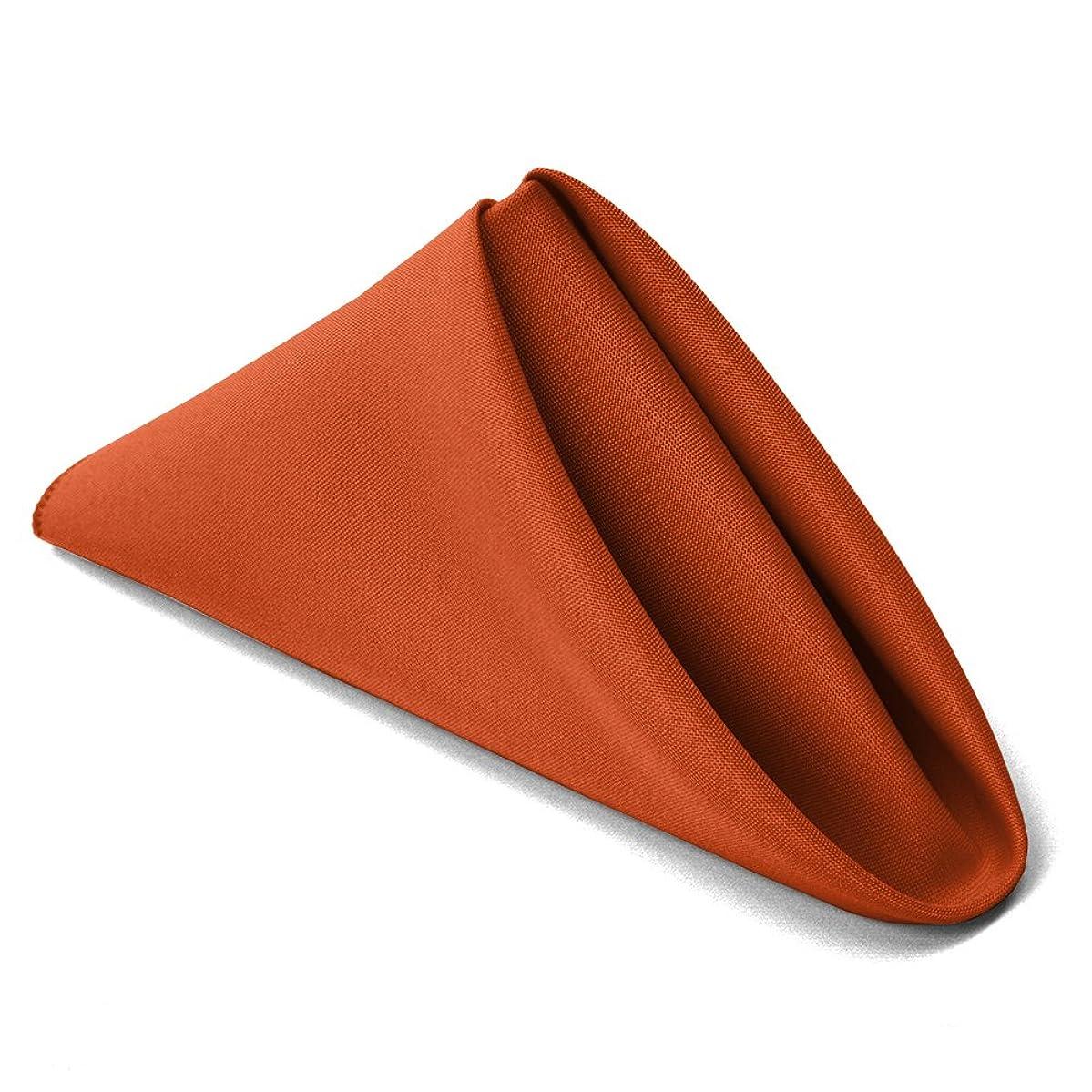 TableLinensforLess 17x17 Inch Polyester Cloth Napkins, Set of 6 (Burnt Orange)