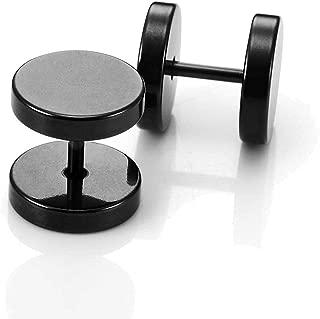 Round Barbell Dumbbell Stainless Steel Mens Designer Jewelry Bolt Stud Earrings