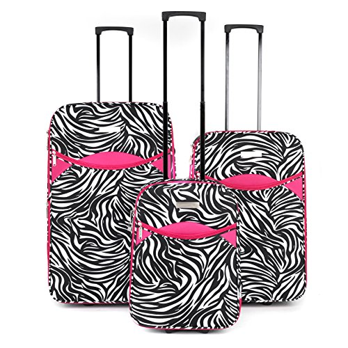 "Constellation LG002653PCZEBPKQDMIL Eva 3 Piece Suitcase Set, 18"", 24"" & 28"", Zebra Print, Pink"