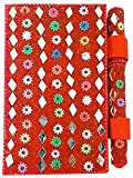 Purpledip Paper Diary and Pen: Handmade Pocket Journal with Mirror-Work Cover, Red (11747)