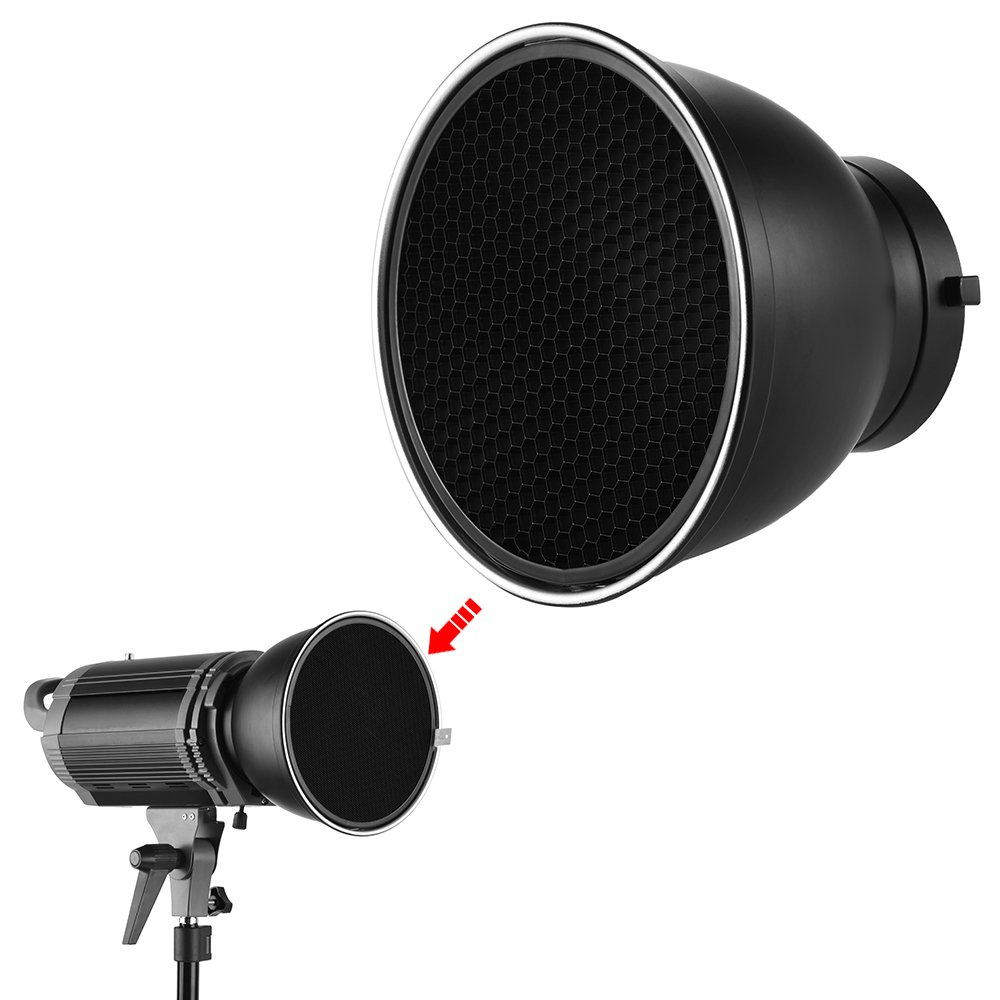 """Andoer 7"""" Standard Reflector Diffuser Lamp Shade Dish Exquisite Reflective Texture with 60° Honeycomb Grid for Bowens Mount Studio Strobe Flash Light Speedlite for Advertising Wedding Photography"""