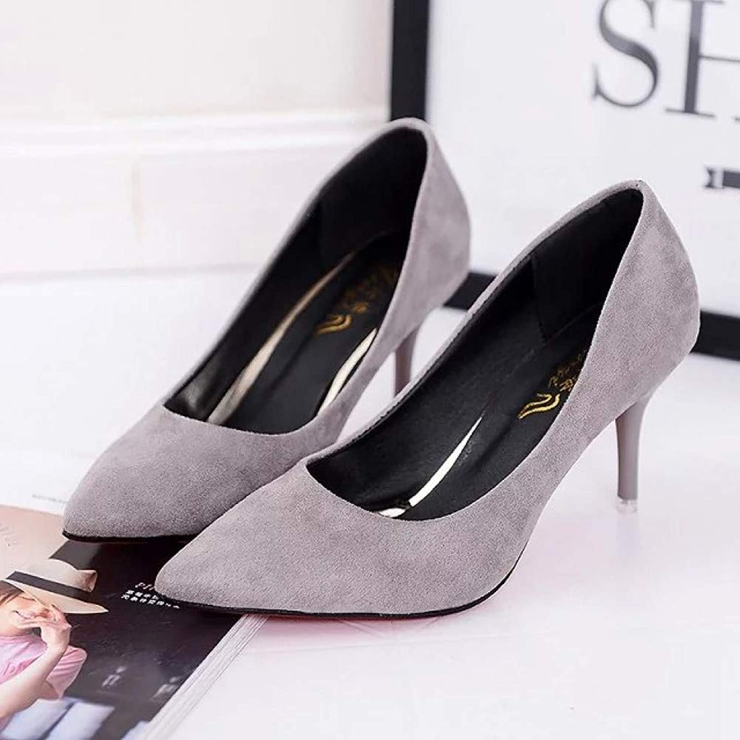 UKJSNHH igh Heels Candy color Women Dress shoes Pointed Toe Pumps High Heels Thin Heels Shallow Ladies shoes Large Size 34-42
