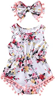 Baywell Baby Girl Romper Outfit Set, Sleeveless Floral Printed Bow-Knot Headband 2 PCs