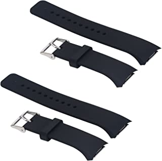 ECSEM 2pcs Large Bands Compatible with Gear Fit2 Pro Watch Replacement Soft Silicone Bands Straps Black+Black